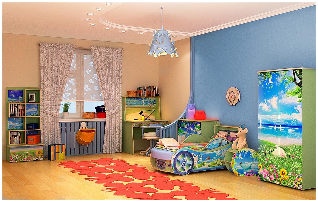 Детская комната для ребенка от шести лет. Мебель. Интерьер. Освещение